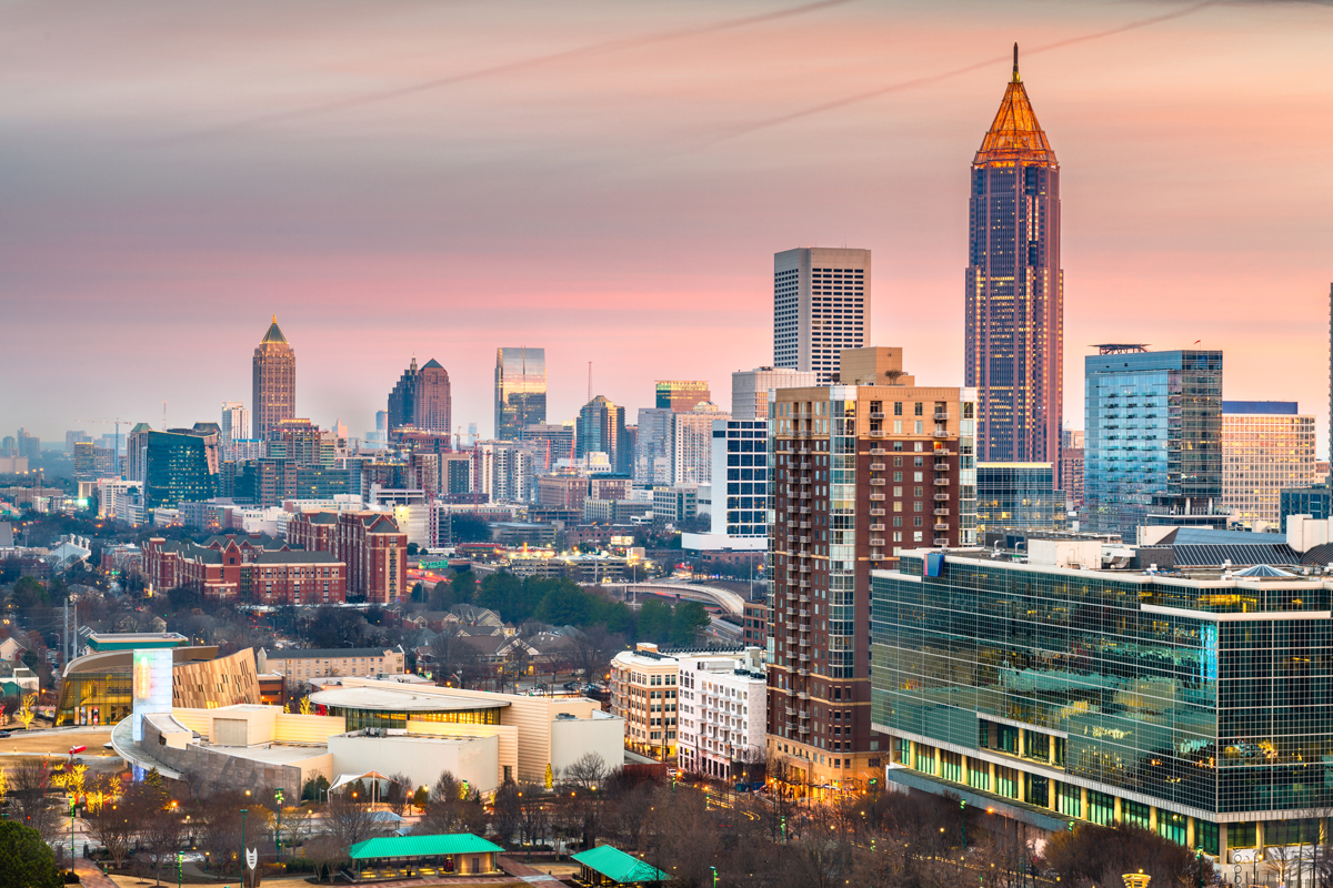 atlanta georgia usa downtown skyline - Atlanta Airport private jet charter and Atlanta Airport private jet hire empty leg mlkjets